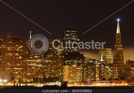 San Francisco stock photo, View to Downtown San Francisco / USA from high above at night  by Achim Baque