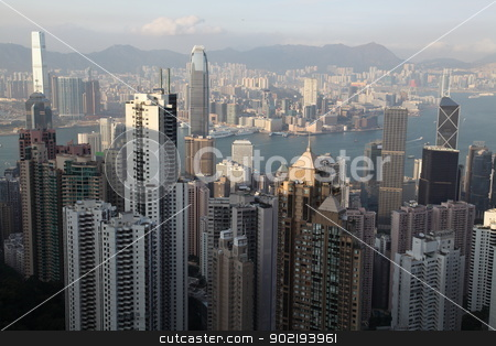 Hong Kong stock photo, Hong Kong panorama from famous The Peak by Achim Baque