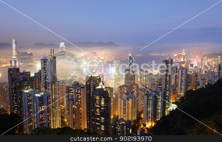 Hong Kong stock photo, Hong Kong at foggy evening. View from The Peak  by Achim Baque