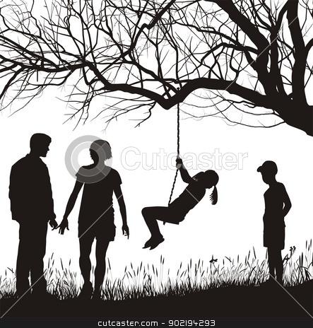 Family in the garden stock vector clipart, vector illustration Family in autumn nature by Čerešňák