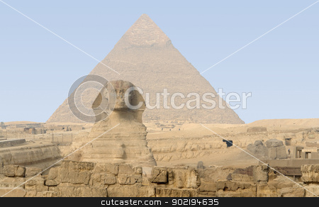 Giza Necropolis stock photo, the Giza Necropolis with pyramid of chefren and Sphinx by prill