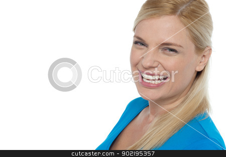 Grin of a gorgeous young laughing woman stock photo, Grin of a gorgeous young laughing woman isolated on white background. by Ishay Botbol