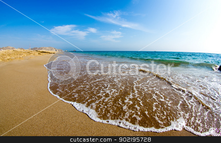 sand beach  stock photo, sand beach and blue sky by Vitaliy Pakhnyushchyy