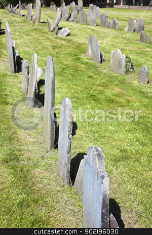 Copp's Hill Burying Ground stock photo, Boston, Massachusetts, USA - May 19, 2012 Copp's Hill Burying Ground in the historic North End of Boston, Massachusetts. Old graves with the grass seen during spring afternoon. The cemetery was founded in 1659. by Henryk Sadura
