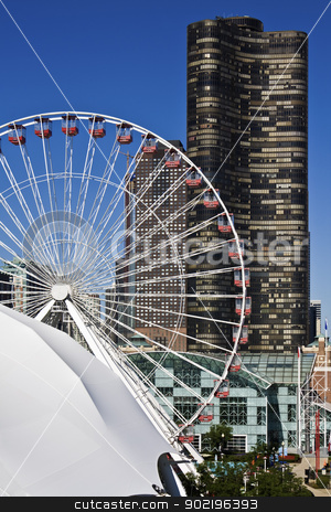 Ferris Wheel and Lake Point Tower in downtown of Chicago  stock photo, Chicago, Illinois, USA - July 13, 2008: Ferris Wheel and Lake Point Tower in downtown of Chicago, Illinois. by Henryk Sadura