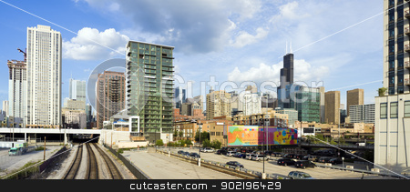 CHICAGO, ILLINOIS, USA - JUNE 29, 2009: panorama of Chicago seen stock photo, CHICAGO, ILLINOIS, USA - JUNE 29, 2009: panorama of Chicago seen from North Halsted Avenue. by Henryk Sadura