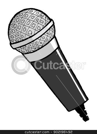 microphone stock vector clipart, hand drawn, cartoon, vector illustration of microphone by Oleksandr Kovalenko