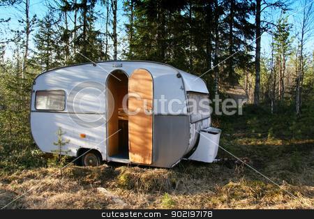 Vintage caravan  stock photo, Vintage caravan in the forest by Ingvar Bjork