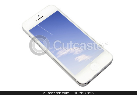 iPhone5 stock photo, iphone 5 isolated on white background by Sasas Design