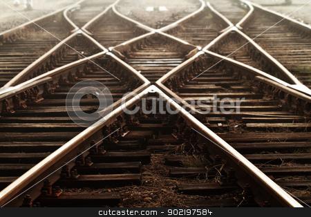 Railway in fog stock photo, Railway in fog on station, outdoor landscape by Nneirda