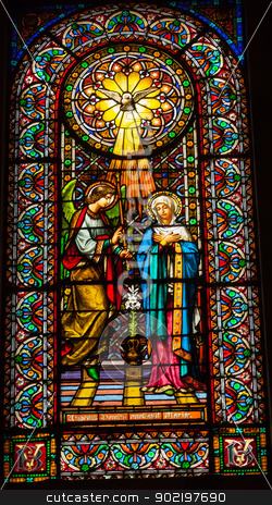 Stained Glass Angel Holy Spirit Mary Monestir Monastery of Monts stock photo, Stained Glass Angel Tells Mary She Will Have Jesus Holy Spirit Monestir Monastery of Montserrat, Barcelona, Catalonia, Spain.  Founded in the 9th Century, destroyed in 1811 when French invaded Spain. Rebuilt in 1844 and now a Benedictine Monastery.  Placa de Santa Maria by William Perry