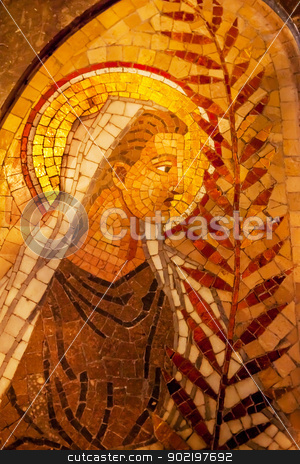 Angel Palm Frond Mosaic Inside Basilica Monestir Monastery of Mo stock photo, Angel Palm Frond Mosaic Basilica Inside Monestir Monastery of Montserrat, Barcelona, Catolonia, Spain.  Founded in the 9th Century, destroyed in 1811 when French invaded Spain. Rebuilt in 1844 and now a Benedictine Monastery.  Placa de Santa Maria by William Perry