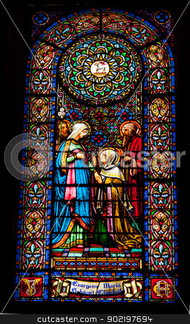 Stained Glass Mary Elizabeth Josepeh Meeting Inside Basilica Mon stock photo, Stained Glass Mary Elizabeth Joseph Monestir Monastery of Montserrat, Barcelona, Catalonia, Spain.  Founded in the 9th Century, destroyed in 1811 when French invaded Spain. Rebuilt in 1844 and now a Benedictine Monastery.  Placa de Santa Maria by William Perry