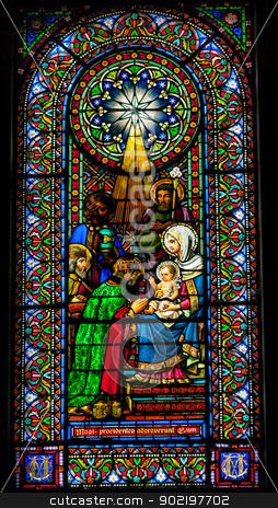 Stained Glass Magi Three Kings Baby Jesus Mary Monestir Monaster stock photo, Stained Glass Magi Three Kings Baby Jesus Mary Monestir Monastery of Montserrat, Barcelona, Catalonia, Spain.  Founded in the 9th Century, destroyed in 1811 when French invaded Spain. Rebuilt in 1844 and now a Benedictine Monastery.  Placa de Santa Maria by William Perry