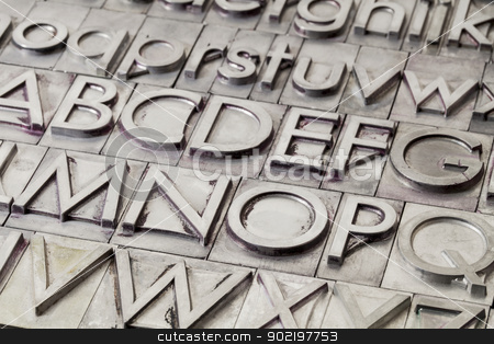 metal alphabet abstract stock photo, alphabet abstract - vintage metal letterpress printing blocks by Marek Uliasz