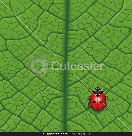 Ladybug stock vector clipart, Layered vector illustration of Ladybug on Leaf. by Liu Yin