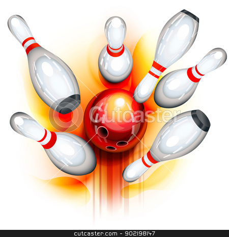 Bowling game (top view) stock vector clipart, A red bowling ball crashing into the pins by Laurent Renault