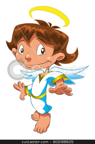 Little Angel. stock vector clipart, Little Angel. Funny cartoon and vector isolated character by ddraw