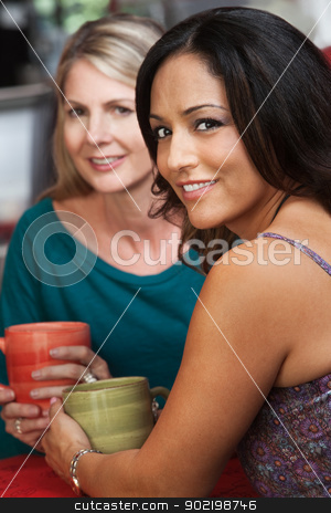 Sexy Hispanic Woman and Friend in Cafe stock photo, Sexy mature Native American woman sitting with blond friend in cafe by Scott Griessel
