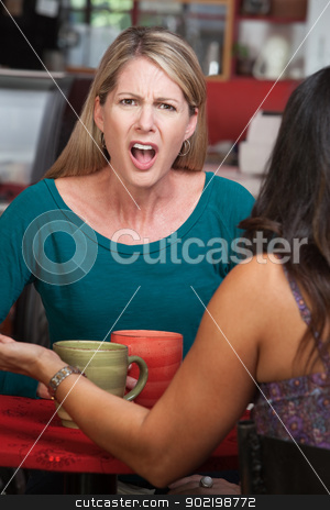 Outraged Lady in Cafe stock photo, Outraged European woman across from person in a coffeehouse by Scott Griessel