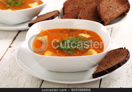 Image of bowl of hot red soup and black bread stock photo, Image of bowl of hot red soup and black bread on white wooden table by yekostock
