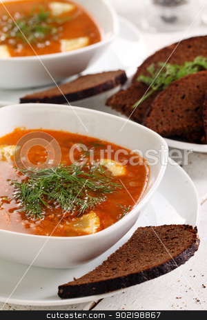 Bowl of red soup and black bread on white table stock photo, Image of bowl of hot red soup and black bread on white wooden table by yekostock