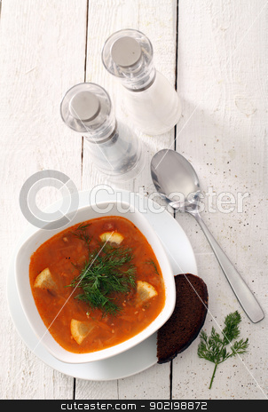 Bowl of red soup served with bread on table stock photo, Image of bowl of hot red soup served with bead, pepper, salt and spoon on white wooden table by yekostock