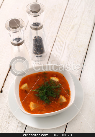 Bowl of hot red soup served on wooden table stock photo, Image of bowl of hot red soup served with pepper, salt and spoon on white wooden table by yekostock