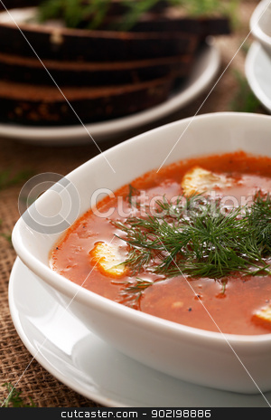 Soup served with bread on a beige tablecloth stock photo, Image of bowls of hot red soup served with bread on a beige tablecloth by yekostock