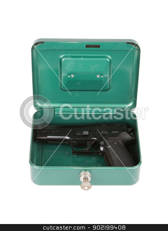 9mm pistol in a metal case stock photo, 9mm pistol in a metal case, isolated on white by michaklootwijk