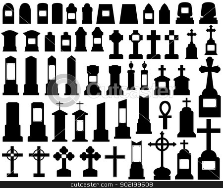 tombstones stock vector clipart, illustration of tombstones isolated on white by Iliuta