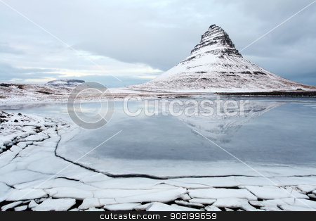 Grundarfjorour famous mountain iceland stock photo, Icelands snaefellsnes peninsula and famous Kirkjufellsfos  waterfall and mount Kirkjufell by Ollie Taylor