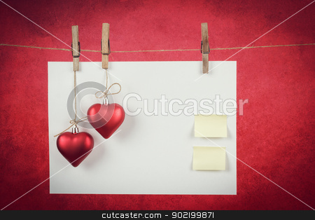 empty note for valentine message stock photo, empty note for valentine message on red background by Artush