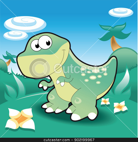 Baby Tyrannosaur. stock vector clipart, Baby Tyrannosaur. Funny cartoon and vector illustration by ddraw