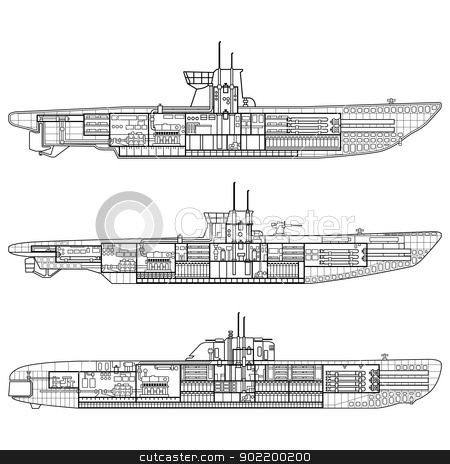 Submarine stock vector clipart, Vector illustration of 3 kinds of German u-type Submarine. by Liu Yin