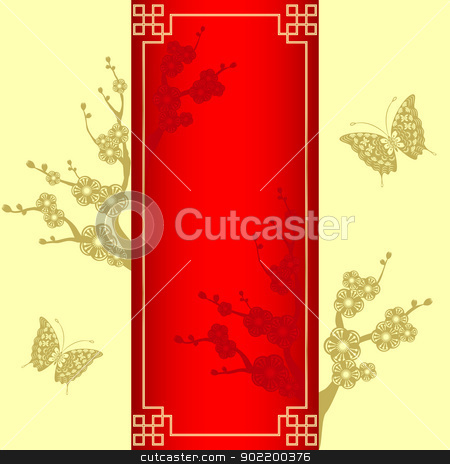 cny_flower_red stock vector clipart, Oriental style Cherry blossom with butterfly by meikis