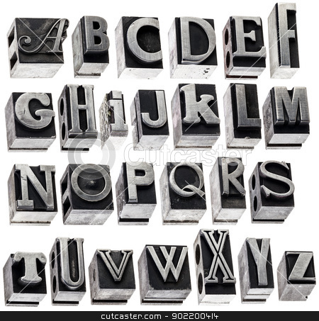 alphabet in vintage metal type stock photo, English alphabet - a collage of 26 isolated letters in grunge letterpress metal type block, a variety of fonts by Marek Uliasz