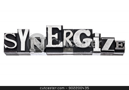 synergize word in metal type stock photo, synergize - isolated word in vintage letterpress metal type blocks, variety of fonts by Marek Uliasz