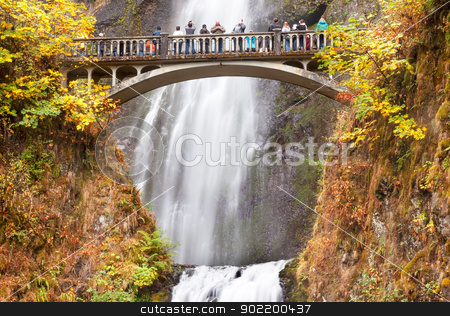 Multnomah Falls Waterfall Columbia River Gorge, Oregon stock photo, Multnomah Falls Waterfall Autumn, Fall Bridge Columbia River Gorge, Oregon, Pacific Northwest by William Perry