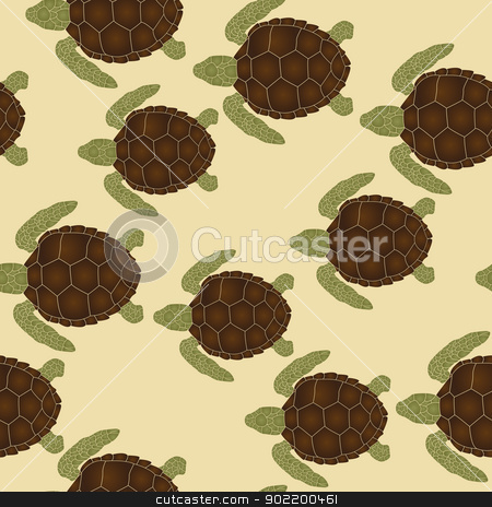 Sea turtles pattern stock vector clipart, Seamless pattern with swimming sea turtles by Richard Laschon
