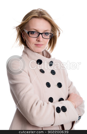 Beautiful girl with with light hair in a coat on an  stock photo, Beautiful girl with with light hair in a coat on an isolated over white background by Vadim