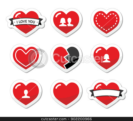 Love hearts labels set for Valentines Day stock vector clipart, Red hearts vector icons set - love, relationship, couples by Agnieszka Murphy