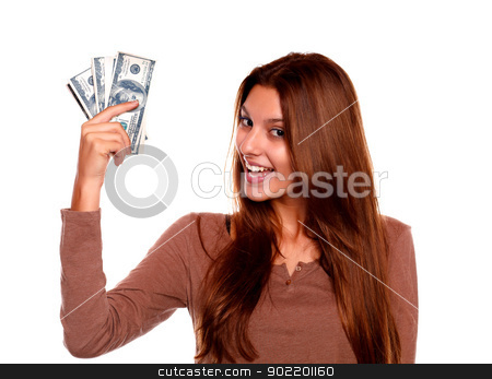 Charming young female with cash money stock photo, Portrait of a charming young female with cash money with long brow hair against white background by pablocalvog