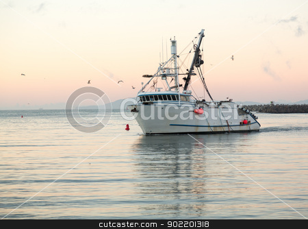 Fishing boat entering Ventura harbor dawn stock photo, Fishing boat trawler entering harbor at Ventura at dawn with lights and birds following by Steven Heap