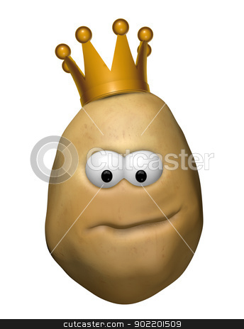 potato with crown stock photo, funny potato with crown - 3d illustration by J?