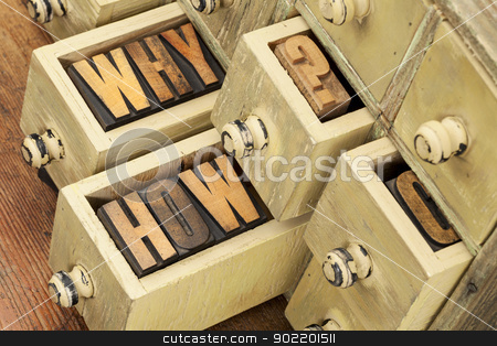 why and how questions stock photo, why and how questions -  vintage letterpress wood type blocks and primitive rustic wooden apothecary drawer cabinet by Marek Uliasz