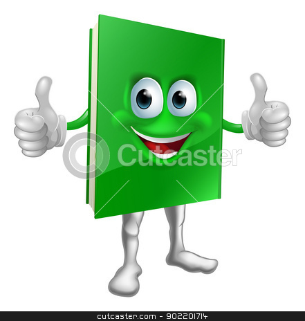 Book mascot education concept stock vector clipart, A cartoon green thumbs up book mascot man education concept by Christos Georghiou