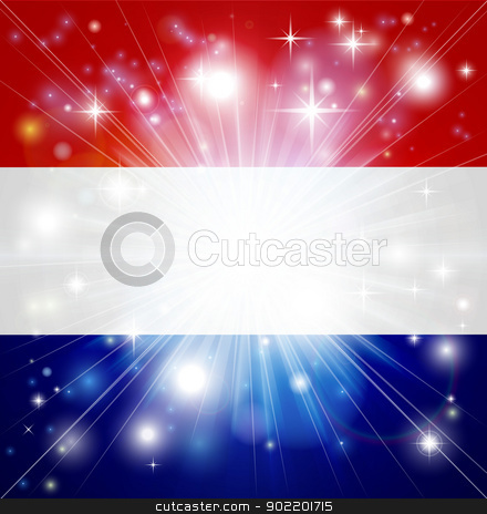 Dutch flag background stock vector clipart, Flag of the Netherlands background with pyrotechnic or light burst and copy space in the centre by Christos Georghiou