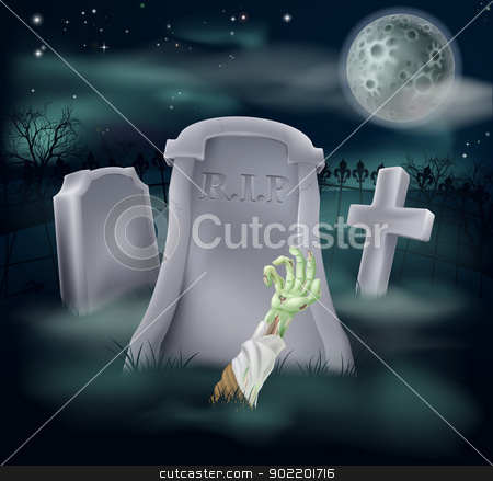 Zombie grave illustration stock vector clipart, Horror illustration of an undead zombie hand and arm reaching out of a spooky grave  by Christos Georghiou