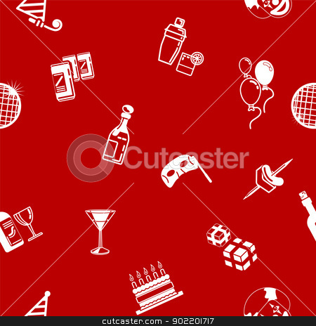 Seamless party background texture stock vector clipart, A repeating seamless party background tile texture with lots of drawings of different party icons by Christos Georghiou